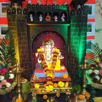 Eco Friendly Bappa Idol with Eco Friendly Fort Decoration